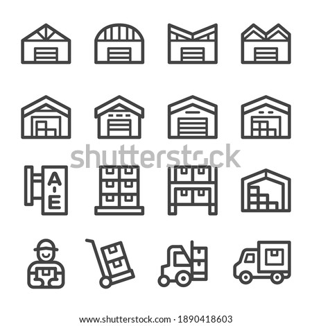 warehouse thin line icon set,vector and illustration