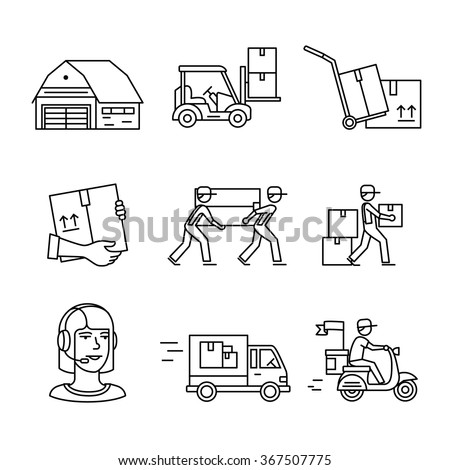 Warehouse, wholesale, services and delivery transportation signs set. Thin line art icons. Linear style illustrations isolated on white.