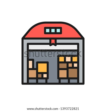 Warehouse with parcels flat color icon.