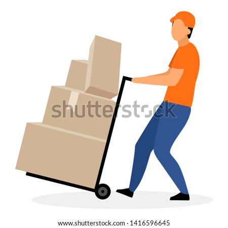 Warehouse worker with hand truck flat vector illustration. Courier, deliveryman moving trolley, dolly cart with cardboard boxes, parcels isolated cartoon character. Delivery, shipping service concept Stock photo ©