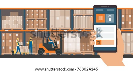 Warehousing and storage app on a smartphone, goods and boxes on shelves in the warehouse and team of workers