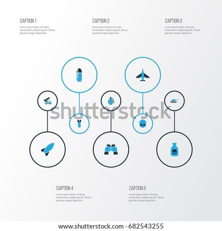 warfare colorful icons set
