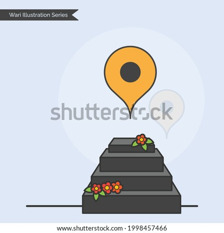 Wari Illustration Series - Shrine Temple of Sanjivan Samadhi [a state of intense concentration achieved through meditation] of Hindu Devotee of Lord Vitthala, Warkari Saint Dnyaneshwar Mauli. Stockfoto ©