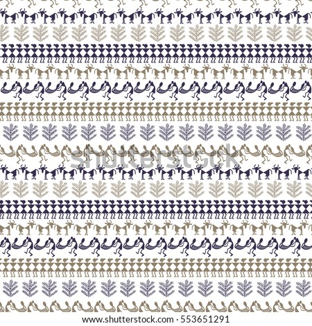 Warli Art painting seamless pattern - hand drawn traditional the ancient tribal art India. Pictorial language is matched by a rudimentary technique depicting rural life of the inhabitants of India. #553651291