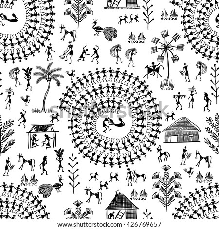 warli painting seamless pattern