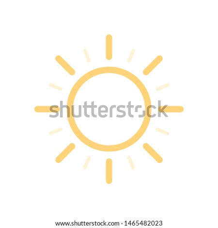 Warm and heat weather app vector icon. Yellow and bright intense sun with rays. Sign of brightness clear day in UI interface