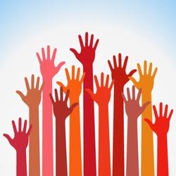 warm colorful up hands logo, vector illustration