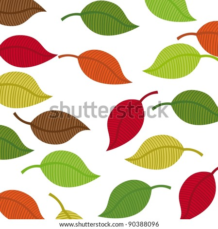 warm colors leaves autumn vector background. illustration