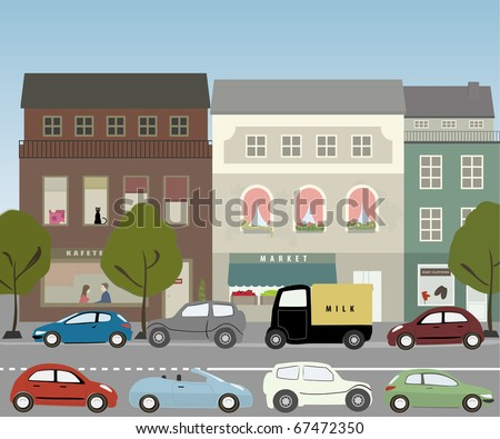 Warm day in midtown - small city street with vehicles - stock vector