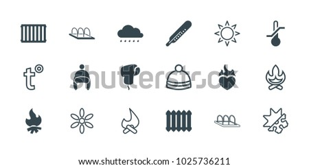 Warm icons. set of 18 editable filled and outline warm icons: thermometer, radiator, sun, winter hat, bonfire, cold and hote mode, temperature, baby cap, greenohuse