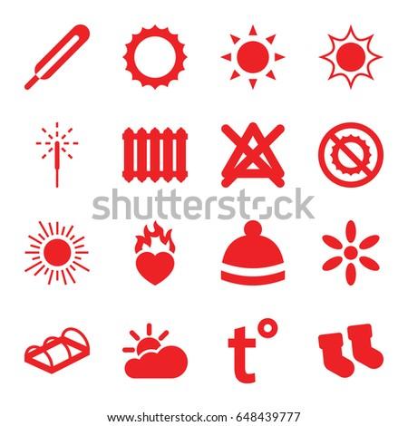 warm icons set set of 16 warm