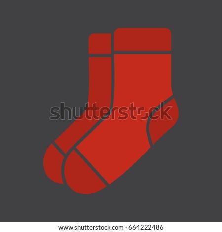 Warm socks glyph color icon. Socks pair. Silhouette symbol on black background. Negative space. Vector illustration