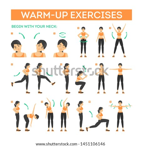 Warm-up exercise set before workout. Stretch muscles for physical training. Female character in sport clothes. Balance movement. Isolated vector illustration in cartoon style Stock photo ©