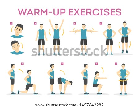 Warm-up exercise set before workout. Stretch muscles for physical training. Male character in sport clothes. Balance movement. Isolated vector illustration in cartoon style Stock photo ©