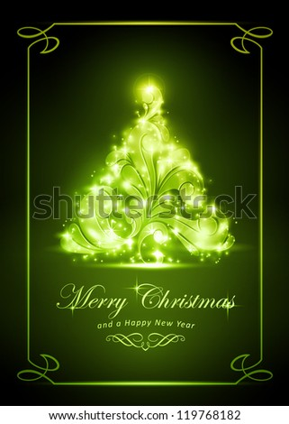 "Warmly sparkling Christmas tree on dark green background of 5x7 inch, with the text ""Merry Christmas and a Happy New Year"". Light effects give it a radiating glow."