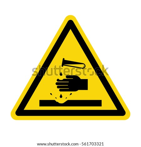 Warning acid sign, vector, Illustration