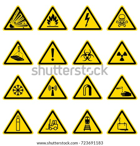 Stock Photo Warning and hazard symbols on yellow triangles vector collection. Safety and caution, risk alert information illustration