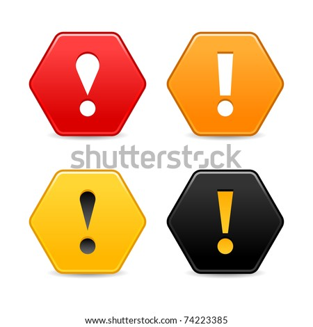 Warning attention icon with exclamation mark sign. Colored hexagon shape web 2.0 button with shadow on white