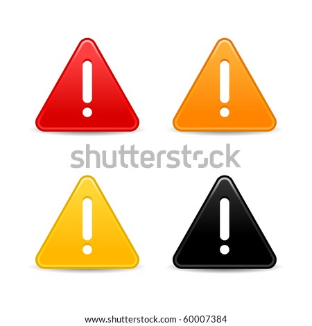 Warning attention sign with exclamation mark web 2.0 button. Smooth triangular shape with shadow on white background - stock vector