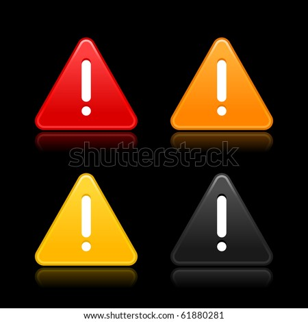 Warning attention sign with exclamation mark web 2.0 button. Smooth triangular shapes with reflection on black background