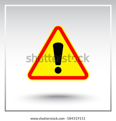 Warning attention with exclamation mark sign icon, vector illustration. Flat design style