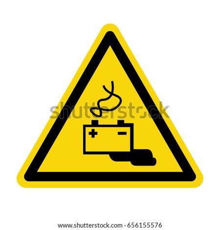 Warning battery charging area. sign, symbol