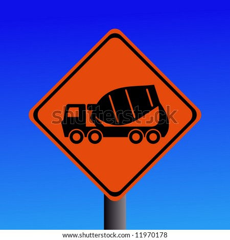 Warning cement mixer sign on blue illustration