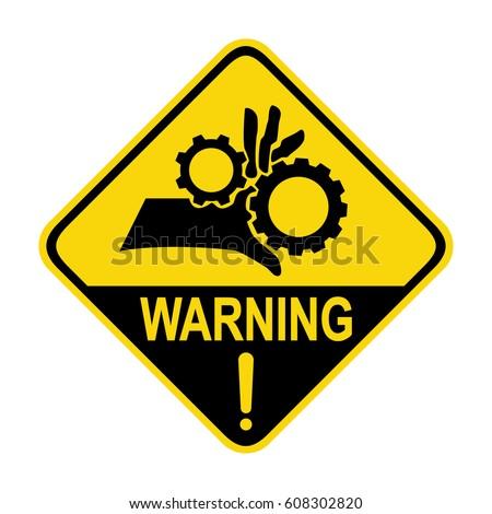 Warning crushing hand sign, symbol, illustration