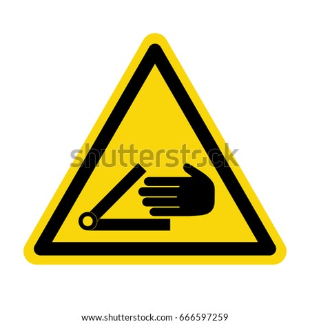 Warning crushing hand sign. Symbol, illustration