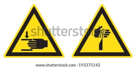 warning crushing of hands