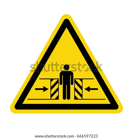 Warning crushing sign. symbol, illustration