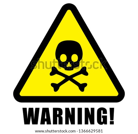 warning, danger, attention, caution sign vector and icon on rectangle and triangle frame yellow and black color background