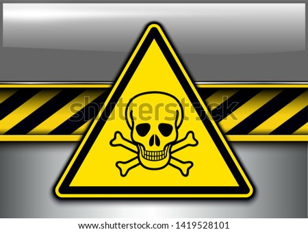 Warning, danger background with poison danger sign, vector illustration.