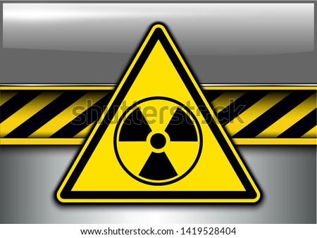 Warning, danger background with radiation danger sign, vector illustration.