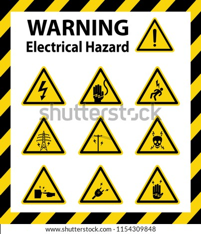 Warning : Electrical hazard. Sign ,symbol ,vector ,illustration