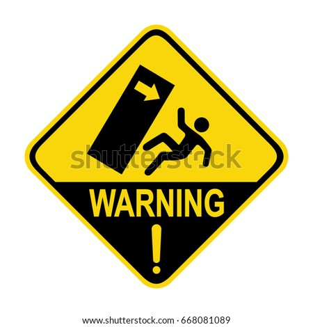 Warning : Fall object sign. Symbol, illustration