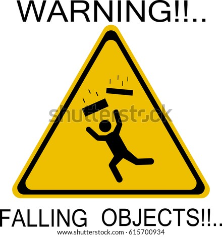 Warning falling objects icon stock photo