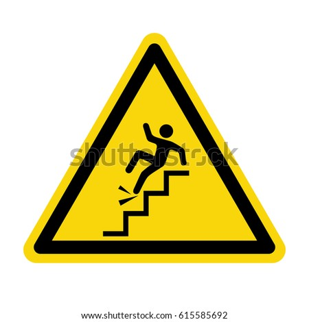 Warning falling off the stairs sign, symbol, vector, illustration