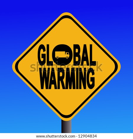 Warning global warming from truck sign illustration