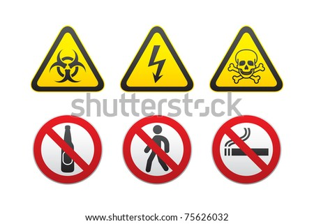 Warning Hazard and Prohibited Signs vector set