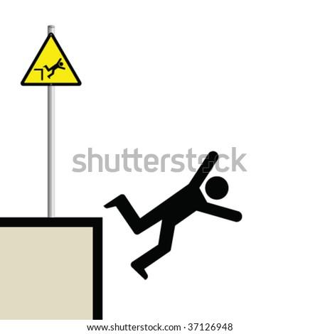 Warning hazard sign and signage man falling