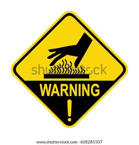 Warning hot surface sign, symbol, illustration