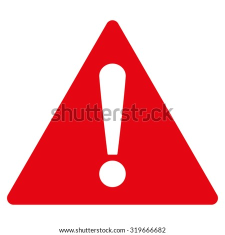 Warning icon from Primitive Set. This isolated flat symbol is drawn with red color on a white background, angles are rounded.
