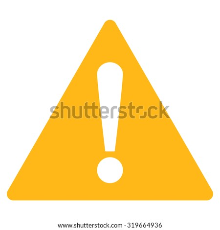 Warning icon from Primitive Set. This isolated flat symbol is drawn with yellow color on a white background, angles are rounded.