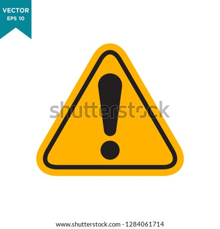 warning icon in trendy flat design