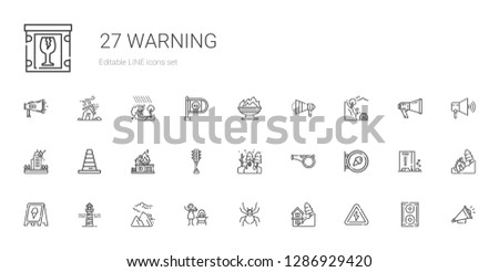 warning icons set. Collection of warning with high voltage, landslide, spider, fire, avalanche, lighthouse, sign, whistle, traffic light. Editable and scalable warning icons.