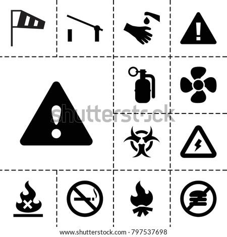 warning icons set of 13