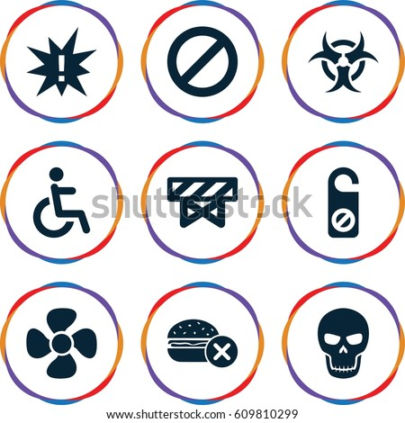 warning icons set set of 9
