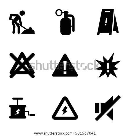 warning icons set set of 9