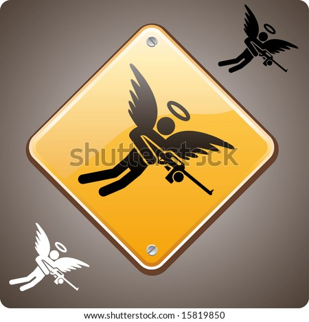 Warning! Mad Angel Ahead! Mad angel warning road sign. A love hurts or a religion power concept